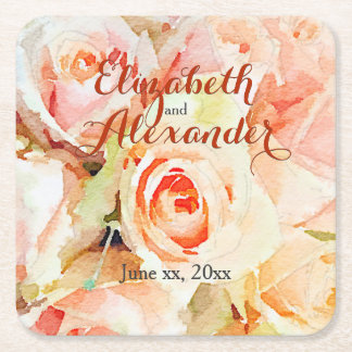 Peach Watercolor Pastel Roses Custom Wedding Square Paper Coaster