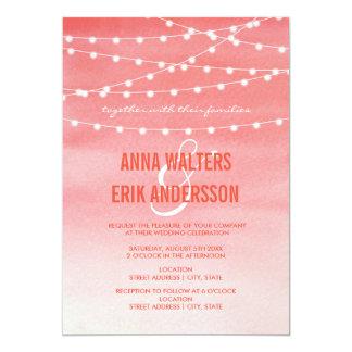 Peach Watercolor String Lights 13 Cm X 18 Cm Invitation Card