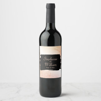 Peach Wedding Names and Date Wine Label