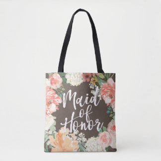 Peach Wedding Watercolor Floral Maid of Honor Tote Bag