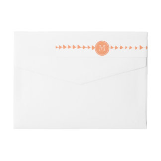 Peach White Aztec Arrows Monogram Wraparound Return Address Label