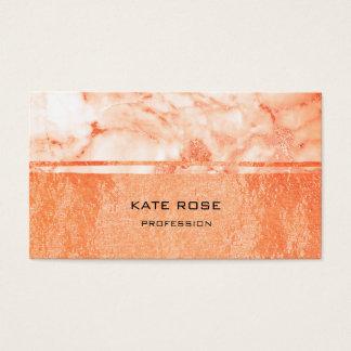 Peach White Carrara Marble Copper Makeup Coral VIP Business Card