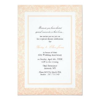 Peach & White Damask Wedding Anniversary Invite