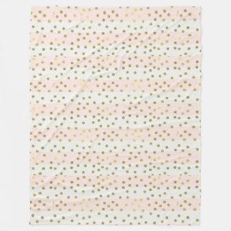 Peach White Gold Stripes Confetti Fleece Blanket