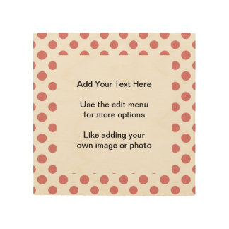 Peach White Polka Dots Pattern Wood Canvases