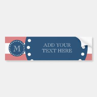 Peach White Stripes Pattern, Navy Blue Monogram Bumper Sticker