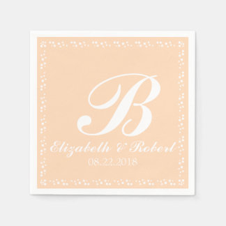 Peach White Wedding Monogram Disposable Napkin