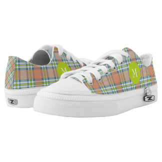 peach with blue and lime plaid low tops