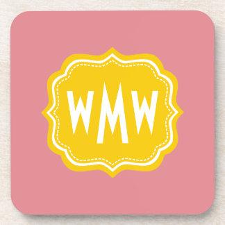 Peach Yellow Custom Monogram Square Coaster