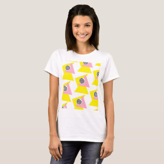 Peach & Yellow Geometry Design T-Shirt