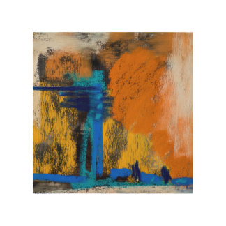 Peaches and Cream Abstract Wood Canvas