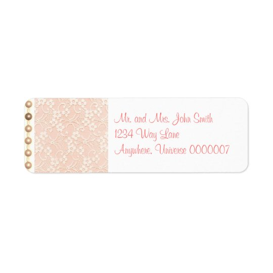 Peaches and Cream Lace and Pearls Address Label