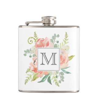 Peaches and Cream Monogrammed Floral Flask