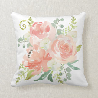 Peaches and Cream Watercolor Floral Cushion