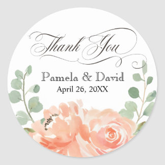 Peaches and Cream Watercolor Floral Thank You Round Sticker