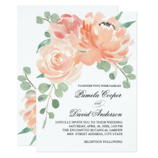 Peaches and Cream Watercolor Floral Wedding Card