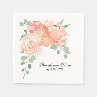 Peaches and Cream Watercolor Floral Wedding Disposable Serviette