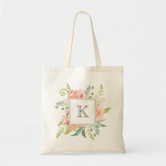 Peaches and Cream Watercolor Floral with Monogram