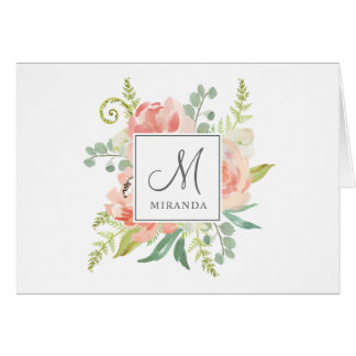 Peaches and Cream Watercolor Floral with Monogram Card