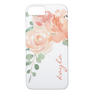 Peaches and Cream Watercolor Floral with Monogram iPhone 7 Case