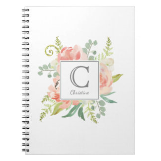 Peaches and Cream Watercolor Floral with Monogram Spiral Notebook