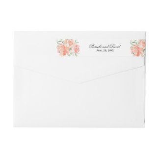 Peaches and Cream Watercolor Floral Wrap Around Label
