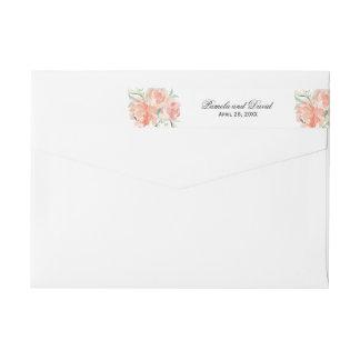 Peaches and Cream Watercolor Floral Wraparound Return Address Label