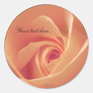 Peaches & Cream Rose Wedding Invitations Seals Round Stickers