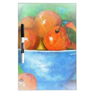 Peaches in a Blue Bowl Vignette Dry Erase Board