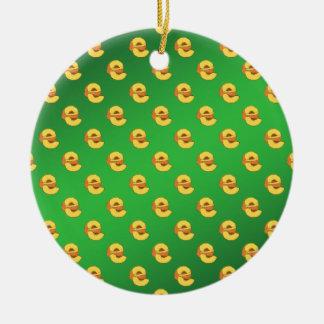 Peaches Pattern - Green Background Round Ceramic Decoration