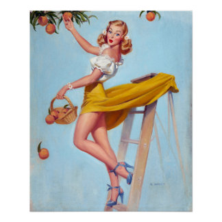 Peaches Pin Up Poster