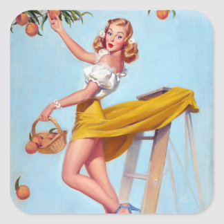 Peaches Pin Up Square Sticker