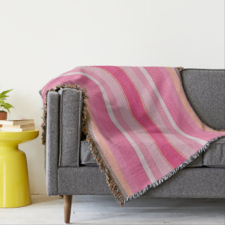 Peaches & Pink Stripes Afghan Throw Blanket