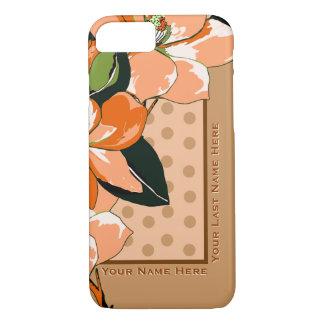 Peachy Azaleas, Polka Dots + Camel_Personalized iPhone 7 Case