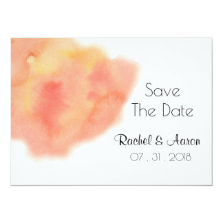 Peachy Coral Watercolor Wash Wedding Save-The-Date 14 Cm X 19 Cm Invitation Card