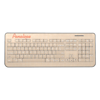 Peachy Gingham Pattern Add Your Name Wireless Keyboard