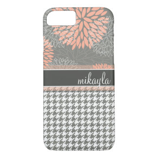 Peachy Keen Flowers and Houndstooth iPhone 7 Case
