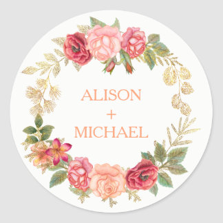 Peachy pink gold roses wreath wedding classic round sticker