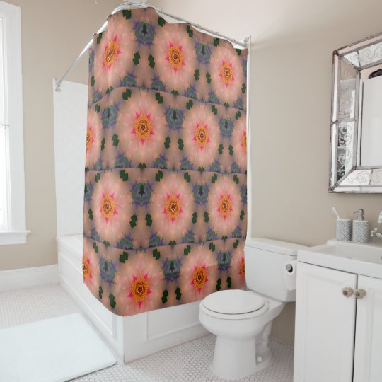 Peachy Pink Kaleidoscope Floral Shower Curtain