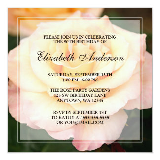 Peachy Pink Rose Flower 80th Birthday Party 13 Cm X 13 Cm Square Invitation Card