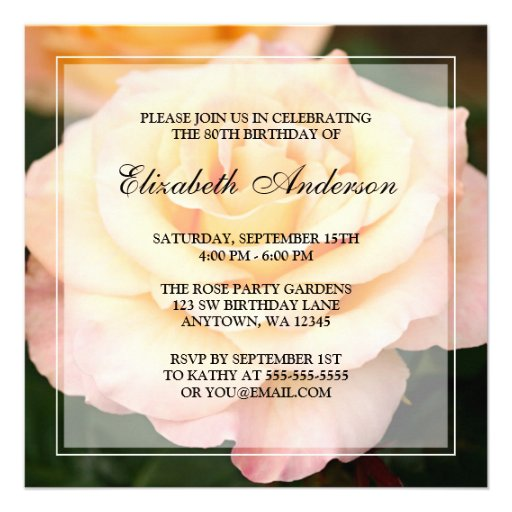 Peachy Pink Rose Flower 80th Birthday Party Personalized Invite