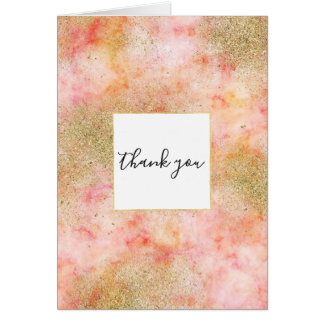 Peachy Pink Watercolor Gold Faux Glitter Thank you Card