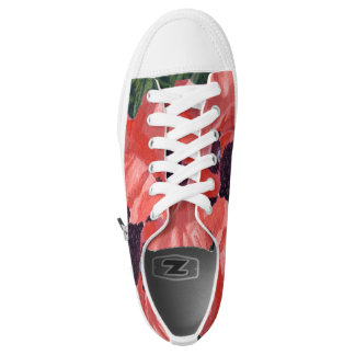 Peachy Poppies Low Tops