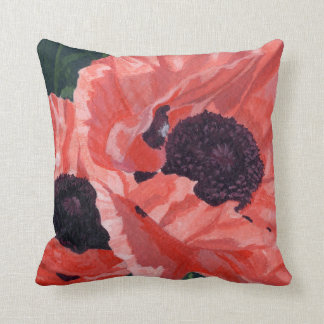 Peachy Poppies Throw Pillow