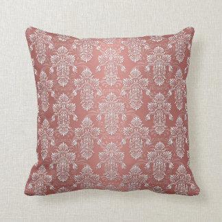 Peachy Salmon Pink Girly Damask Cushion