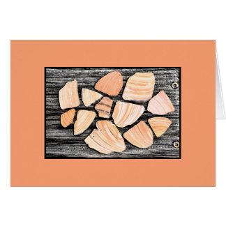Peachy seashell collection from the beach card