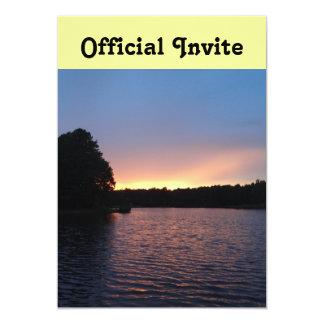 Peachy Sunset over Lake Swan, Georgia 13 Cm X 18 Cm Invitation Card