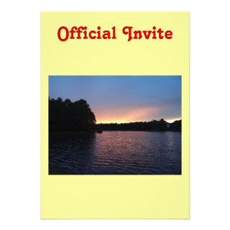 Peachy Sunset over Lake Swan Georgia Custom Invitation