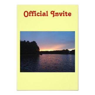 Peachy Sunset over Lake Swan, Georgia Custom Invitation