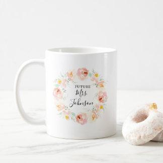 Peachy Watercolor Floral Bride To Be Coffee Mug